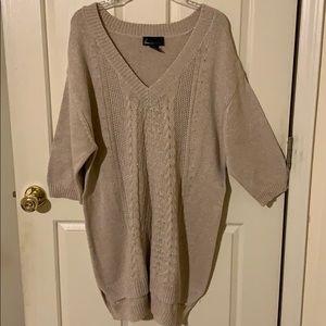 Lane Bryant Oatmeal/Gold Long Sweater NWOT, 22/24